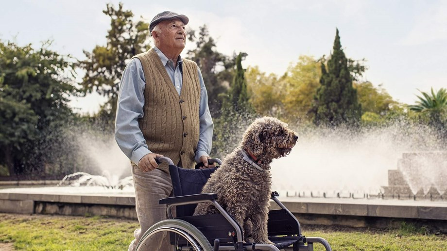 Elderly man pushing a wheelchair
