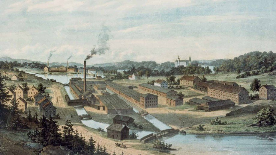 a picture of Mölnycke's factory in 1849